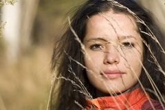 Girl, autumn field Royalty Free Stock Images