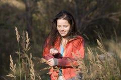 Girl, autumn field Stock Photos