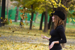 Girl autumn foliage Stock Images