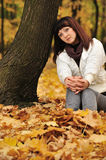 The girl in an autumn forest Royalty Free Stock Images
