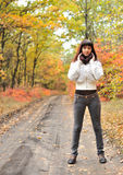 The girl in an autumn forest Royalty Free Stock Photography