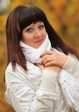The girl in an autumn forest Stock Photography