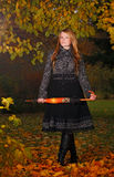 Girl in autumn forest. Beautiful girl in autumn forest Royalty Free Stock Photography