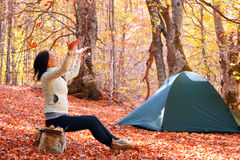 Girl in the autumn forest Royalty Free Stock Photo