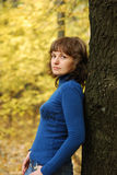 Girl and autumn forest Stock Photo