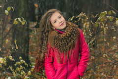 Girl in the autumn forest. Concept autumn Royalty Free Stock Photos