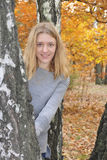 Girl in the autumn forest. Stock Images
