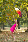 Girl autumn fun Royalty Free Stock Images