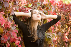 Girl in autumn garden Stock Images