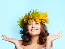 Girl in autumn garland Royalty Free Stock Photos