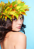 Girl in autumn garland Royalty Free Stock Photo