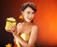 Girl with  autumn hairstyle and make up. Stock Image