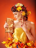 Girl with  autumn hairstyle and make up. Stock Photography