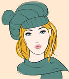 Girl in autumn hat. Face Girl in autumn hat royalty free illustration