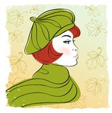 Girl in autumn hat Royalty Free Stock Image
