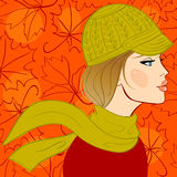 Girl in autumn hat Royalty Free Stock Photos