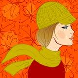 Girl in autumn hat stock illustration