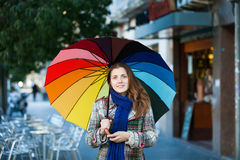 Girl in autumn jacket  with umbrella Royalty Free Stock Images