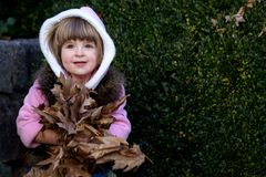 Girl with autumn leaves. Little girl holding a bunch of autumn leaves Royalty Free Stock Photography