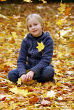 Girl with Autumn leaves Stock Photo