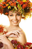 Girl with autumn leaves Stock Image