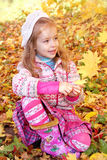 Girl in autumn leaves Stock Photo