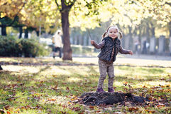Girl with autumn leaves in the beauty park Royalty Free Stock Images