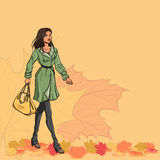 Girl and autumn leaves Royalty Free Stock Photos