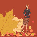Girl and autumn leaves Royalty Free Stock Image
