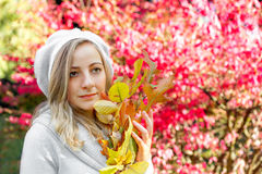 girl with autumn leaves Stock Photography