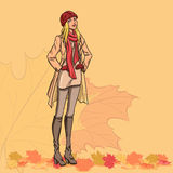 Girl and autumn leaves Stock Photography
