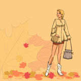 Girl and autumn leaves Stock Photo