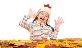 Girl with autumn leaves on white Stock Photography
