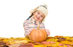 Girl with autumn leaves on white Royalty Free Stock Photo
