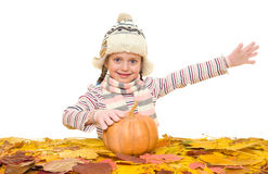 Girl with autumn leaves on white Stock Images