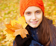 Girl at autumn Royalty Free Stock Photos