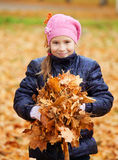 Girl at autumn Stock Images