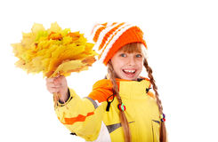 Girl in autumn orange  hat with   leaf group. Royalty Free Stock Image