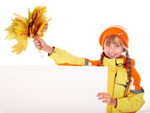 Girl in autumn orange hat with leaf group, banner Royalty Free Stock Images