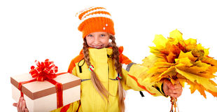 Girl autumn orange hat with leaf group, gift box Royalty Free Stock Images