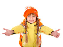 Girl in autumn orange  hat with outstretched arm. Stock Photo