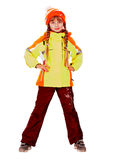 Girl in autumn orange hat and sport  jacket. Royalty Free Stock Images
