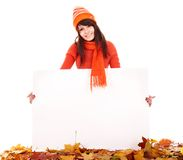 Girl in autumn orange sweater holding banner. Stock Images