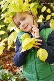 Girl in the autumn park Stock Photography