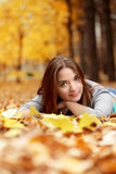 Girl in autumn park Royalty Free Stock Photography