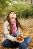 Girl in the autumn park. Royalty Free Stock Photography