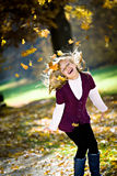 Girl in the autumn park Stock Photo