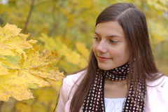 Girl autumn park. Teenager look at maple leaf in autumn royalty free stock image