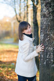 Girl in autumn Park. Beautiful girl in autumn Park Stock Photography