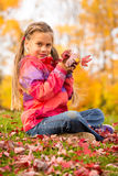 Girl in Autumn Park. Beautiful young girl sitting on a grass with colorful autumn leaves, holding some red maple leaves in her hands royalty free stock photo